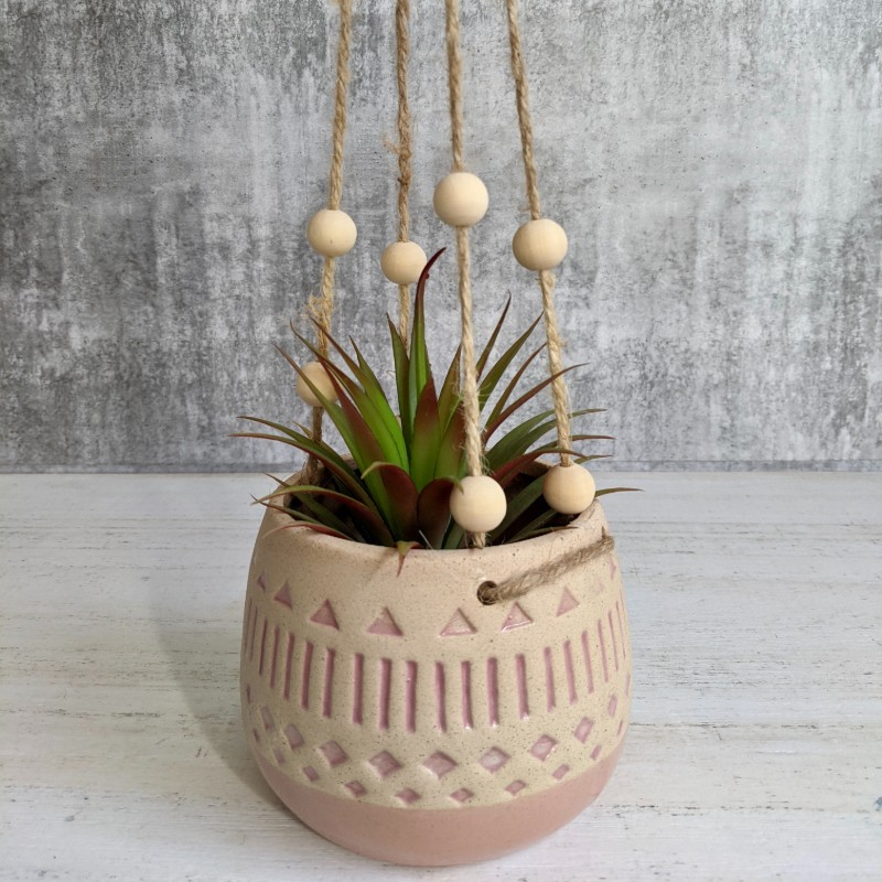 Hanging Pink Tribal Planter with Beads