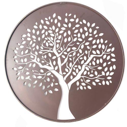 Round Tree of Life Leaves Metal Wall Art