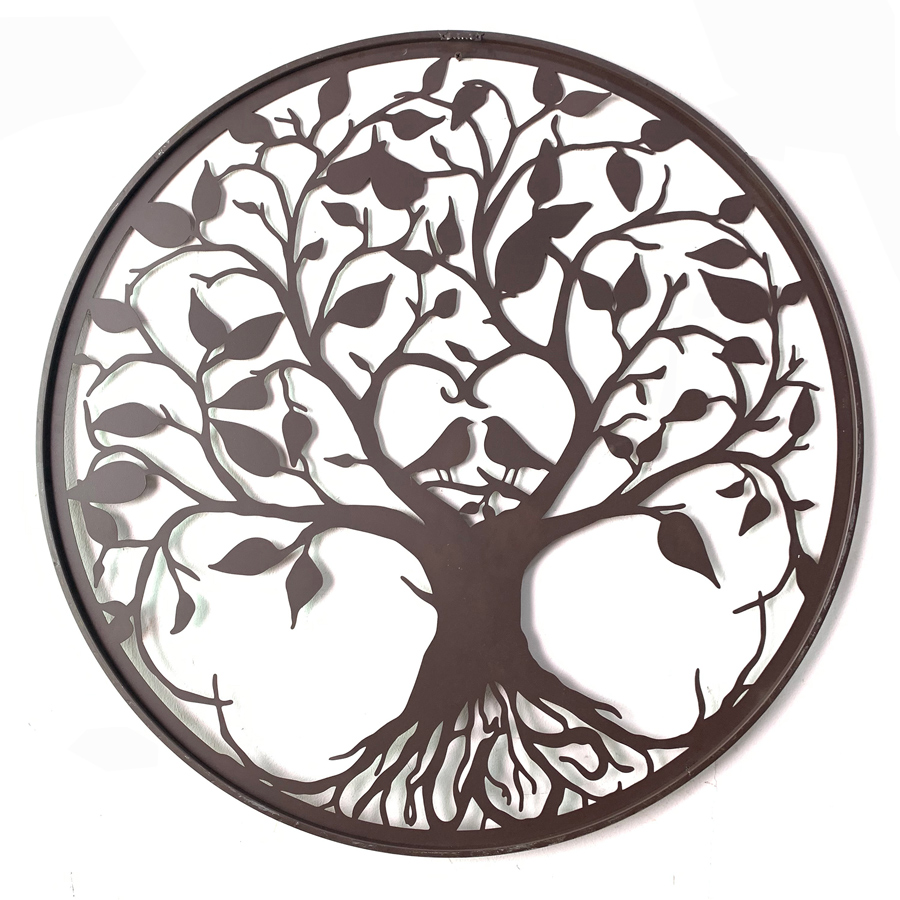 Round Tree of Life with Birds Metal Wall Art