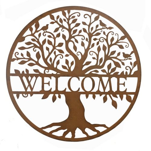 Round Welcome Tree of Life Metal Wall Art