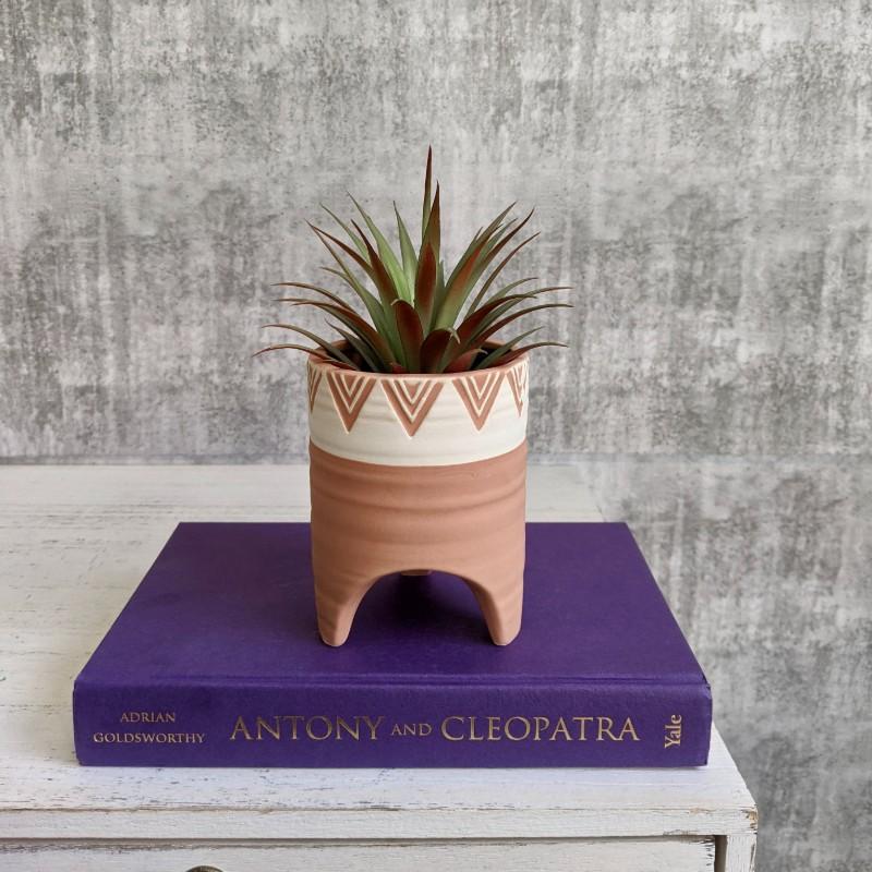 Tribal White Ceramic Planter Pot