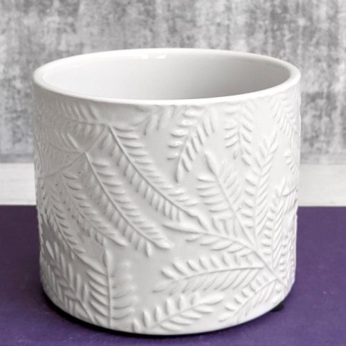 White Leaves Planter Pot