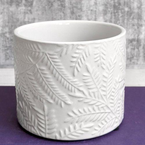 White Leaves Planter Pot
