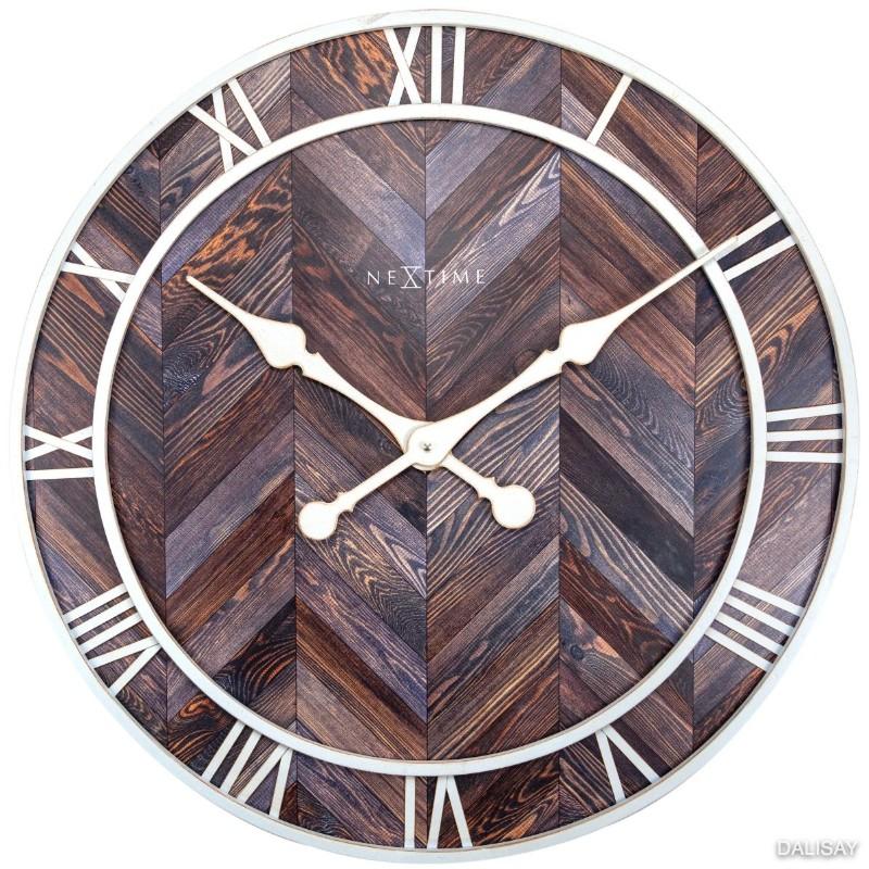 Large NeXtime Brown White Roman Silent Wall Clock