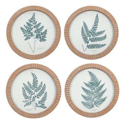 Tropical Green Leaves Glass Wall Art - Set of 4