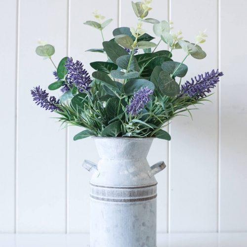 Artificial Lavender Floral Arrangement in Tin vase