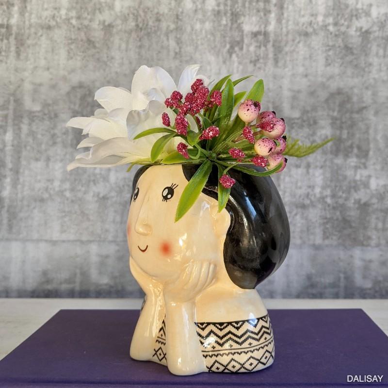 Black Aztec Girl Face Head Planter Pot