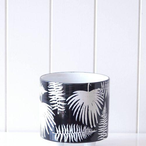 Black White Palm Ceramic Pot Planter on Legs