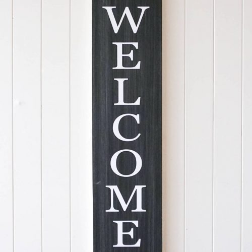 Black White Welcome Quote Farmhouse Sign Timber Wall Art