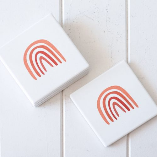 Boho Rainbow Ceramic Drink Coasters - Set of 4