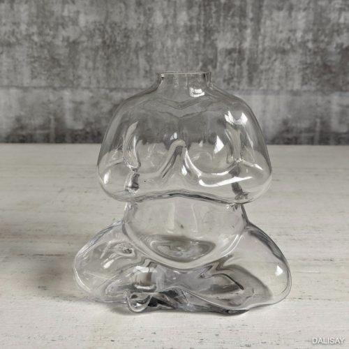Clear Glass Namaste Decorative Flower Vase