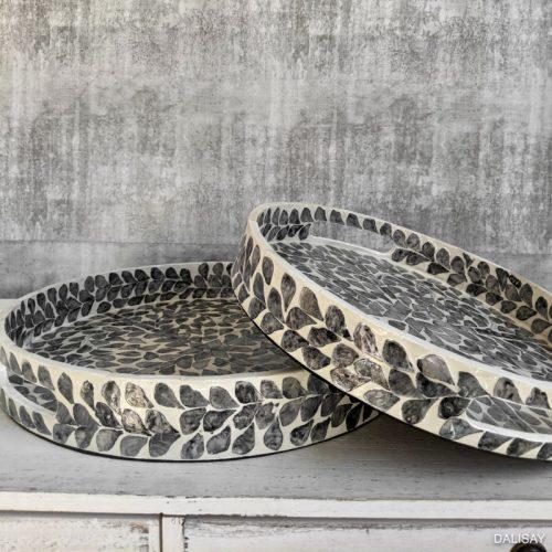 Grey Ivory Inlay Tray - Set of 2