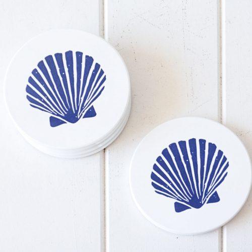 Hamptons Blue Shell Ceramic Drink Coasters - Set of 4