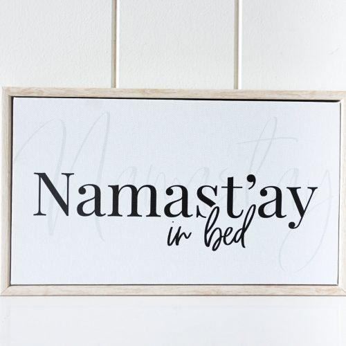 Namastay In Bed Framed Canvas Shelf Decor