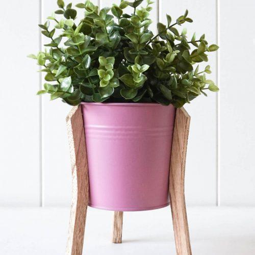 Pink Tin Pot Planter With Timber Legs - Set of 2