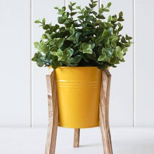 Sunshine Tin Pot Planter With Timber Legs - Set of 2