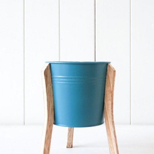 Teal Tin Pot Planter With Timber Legs - Set of 2