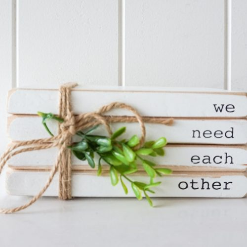 Whitewashed Quote Wooden Block Decor Ornament
