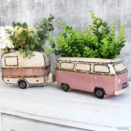 Beach Kombi Van Caravan Planter Pot
