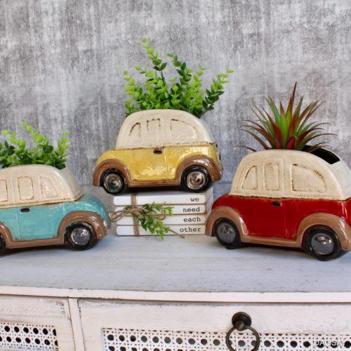 Beetle Car Planter Pot - Red, Yellow, Blue