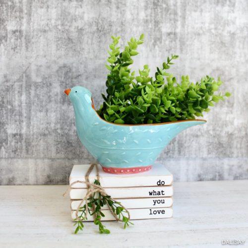 Light Blue Bird Planter Pot