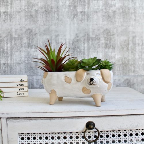 Long Sandy White Dog Planter