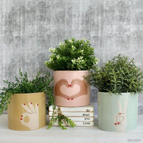 Love Piece Okay Sign Language Planter Pot