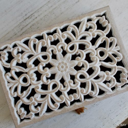 Hamptons Carved Mandala Decorative Trinket Box