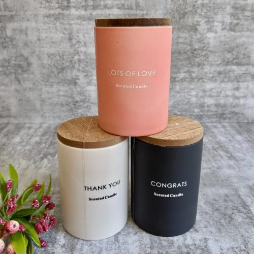 Scented Candle Ceramic Jar with Wooden Lid