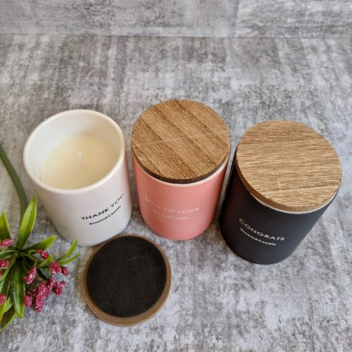 Scented Candle Ceramic Jar with Wooden Lid - 3 Variants
