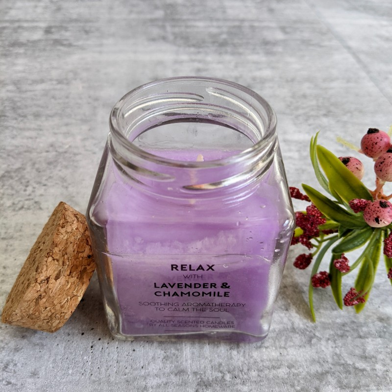 Scented Candle Glass Jar with Cork Lid - Lavender, Pomegranate
