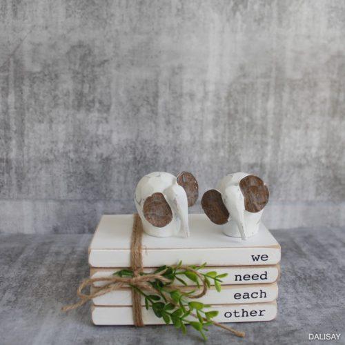 White Baby Elephant Figurine - Set of 2