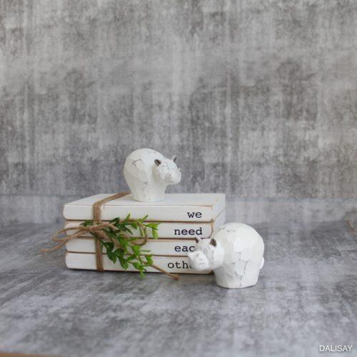 White Baby Hippo Figurine - Set of 2