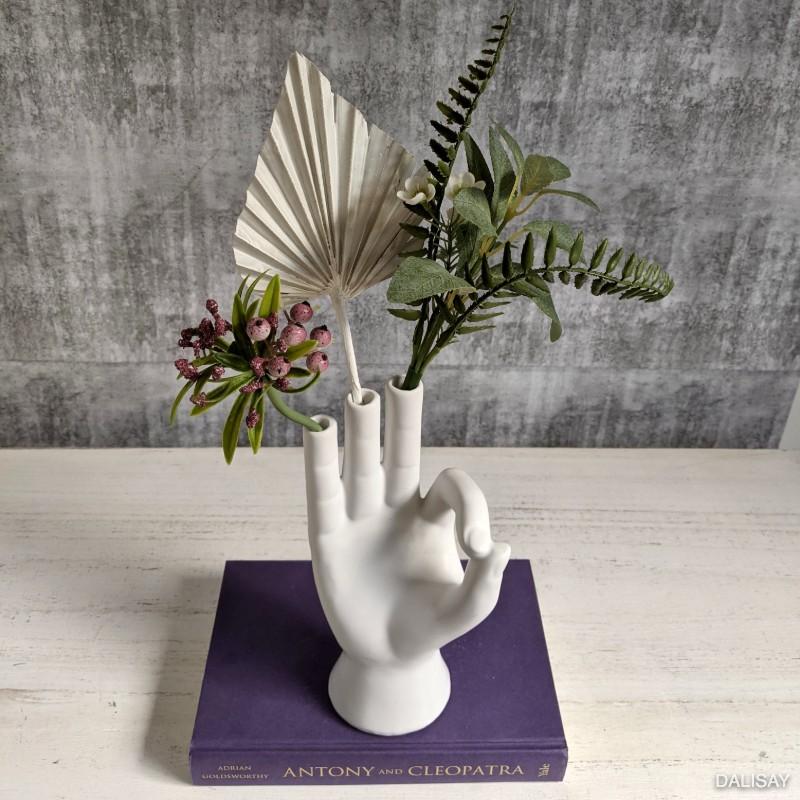 White Hand Decorative Flower Vase