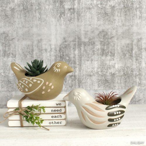 White Tan Bird Ceramic Planter Pot