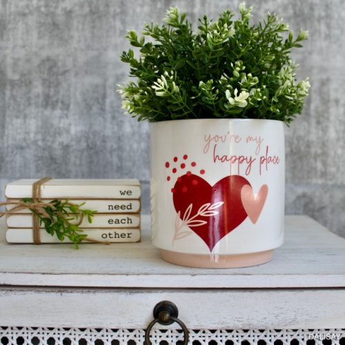 You Are My Happy Place Hearts Planter Pot